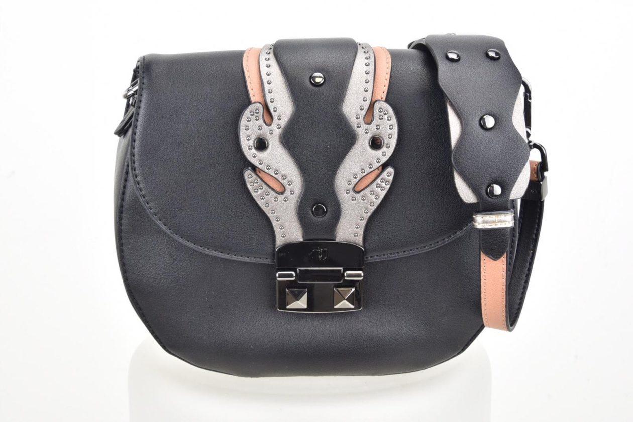 TRUSSARDI | Tracolla nera con borchiette