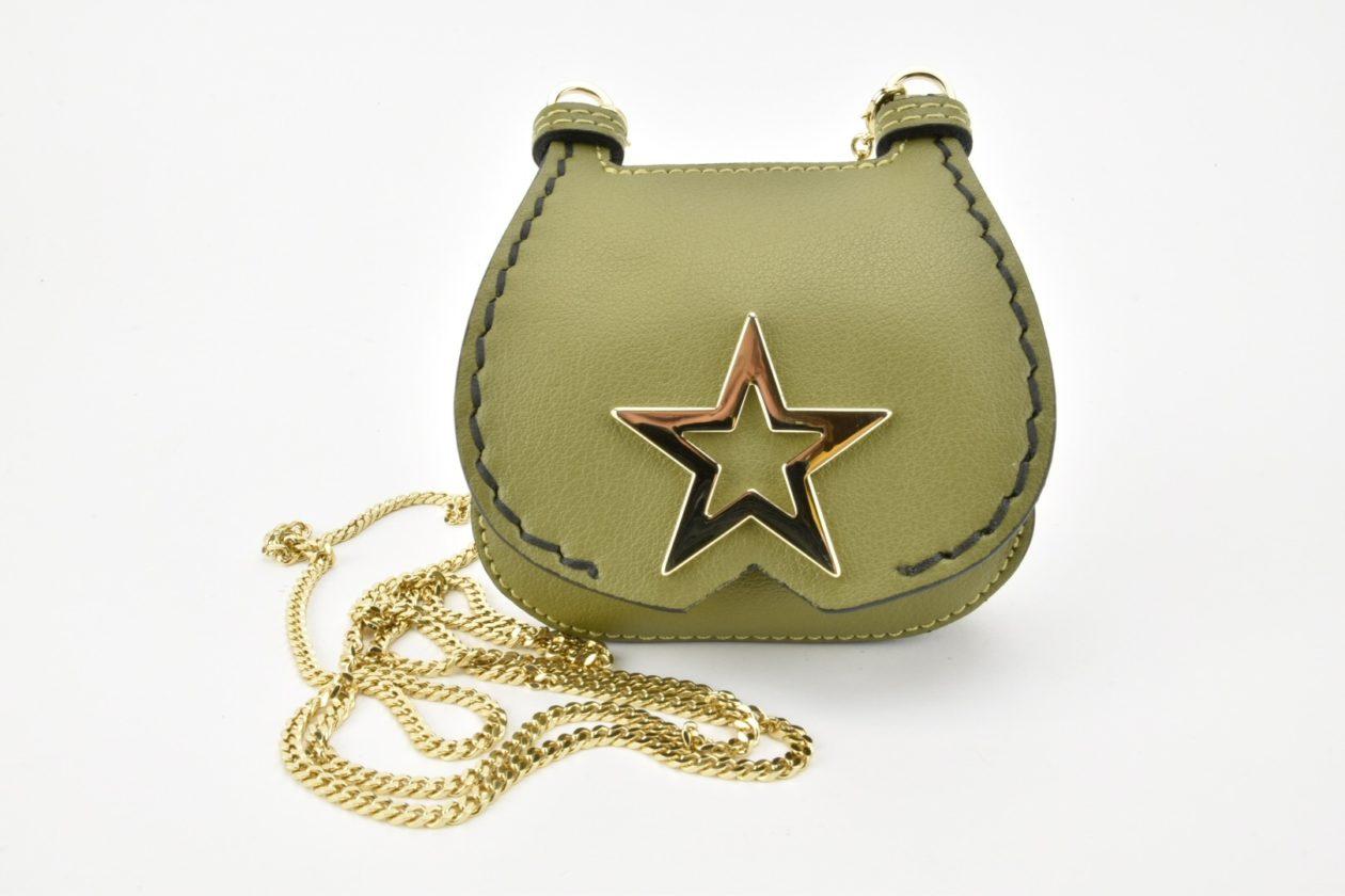 PATRIZIA PEPE Mini pochette con tracolla porta monete/documenti verde oliva