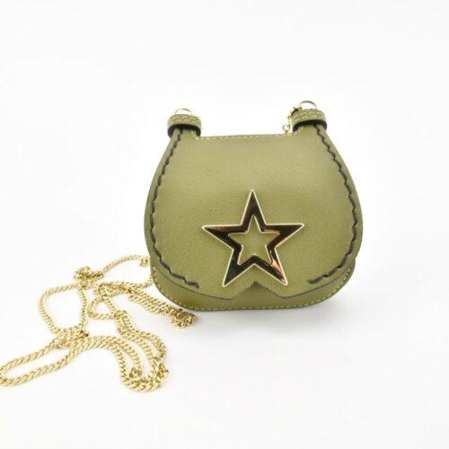 PATRIZIA PEPE Mini pochette con tracolla porta monete/documenti verde oliva Accessori