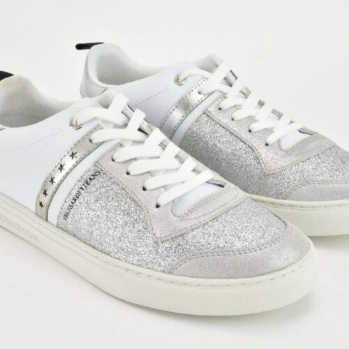 TRUSSARDI Scarpe Sneakers bianche e argento Scarpe