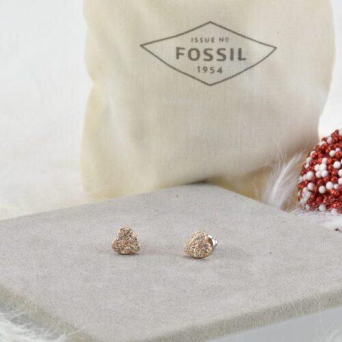 FOSSIL Orecchini cuore oro rosa Fossil Accessori