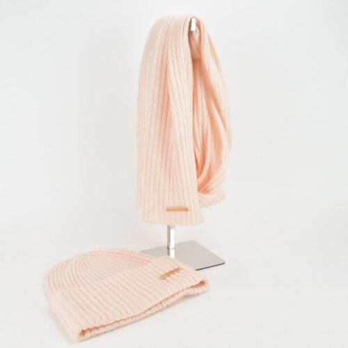 TRUSSARDI Set sciarpa e berretto rosa a costine Accessori