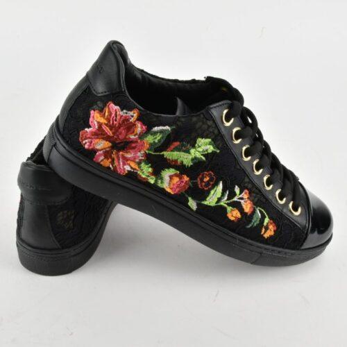 TWINSET scarpe Sneakers pizzo nero Donna