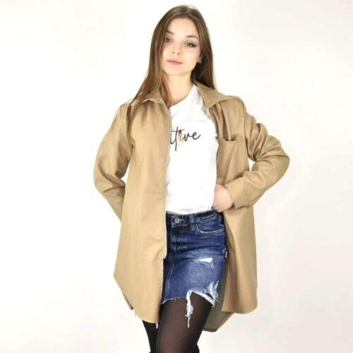 GIACCHINA LUNGA beige ecopelle Abbigliamento