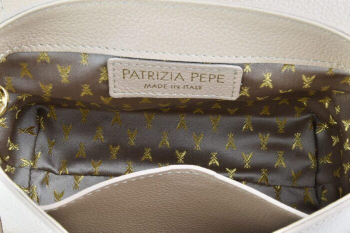 PATRIZIA PEPE Tracolla beige con lucchetto Borse