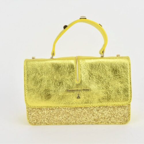 PATRIZIA PEPE Tracolla giallo lamé Borse
