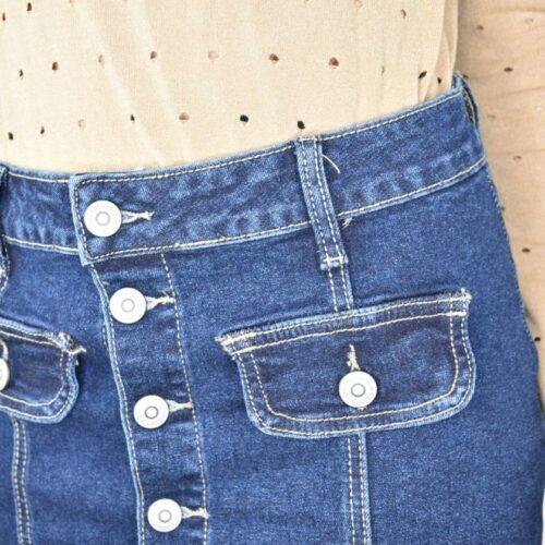 MINIGONNA di jeans scura con bottoni Abbigliamento
