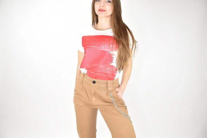 T-SHIRT pennellate rosso oro Abbigliamento