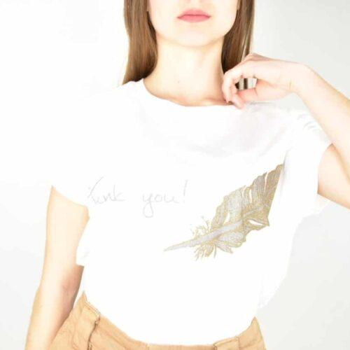 T-SHIRT bianca thank you Abbigliamento
