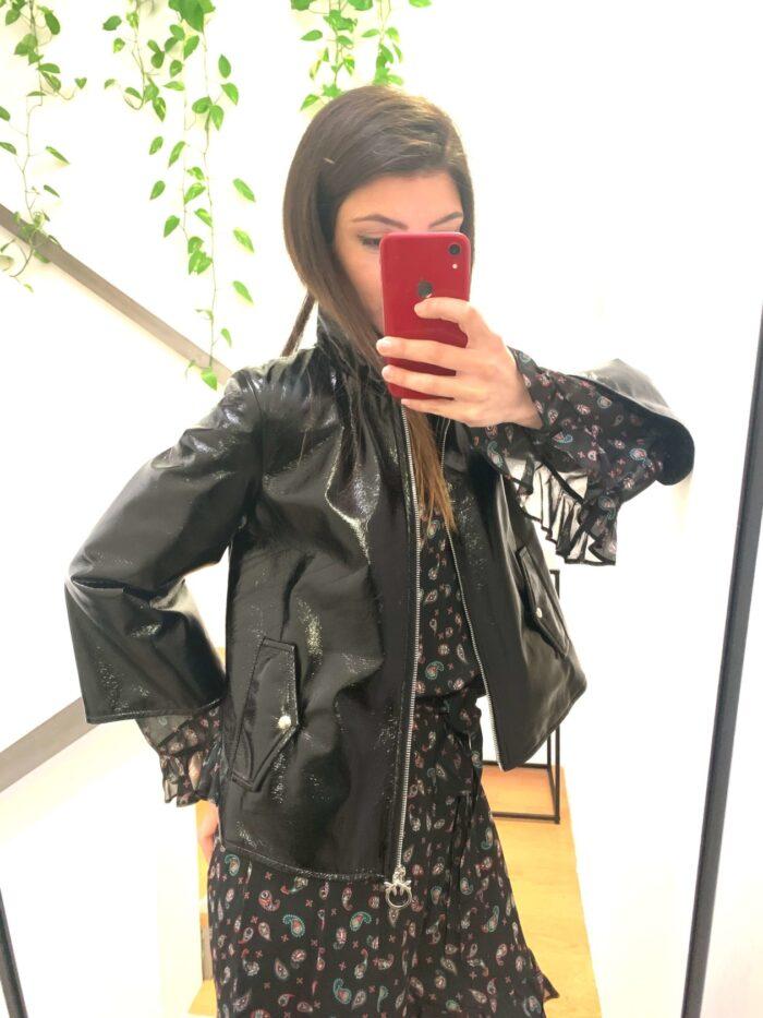 PINKO giacchino nero vernice Abbigliamento