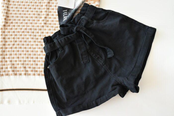 SHORTS pantaloncini neri jeans Abbigliamento