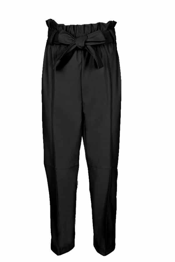 PANTALONI vita alta  neri ecopelle con cintura fiocco Abbigliamento