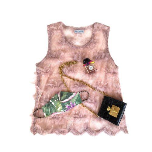 METIS GLAM Canotta rosa con  inserti tulle e pizzo Abbigliamento