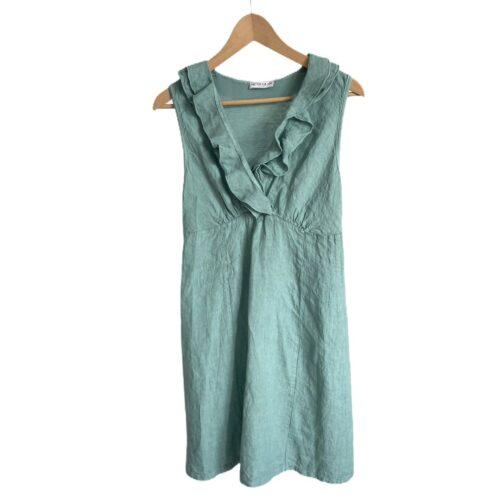 METIS GLAM Vestito lino verde smeraldo Abbigliamento