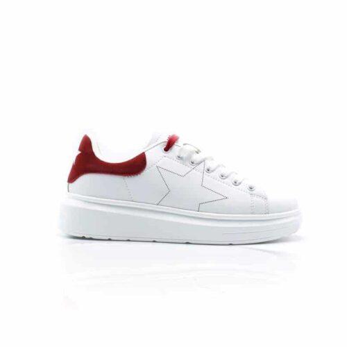 SHOP ART Sneakers bianche dettagli rossi Donna
