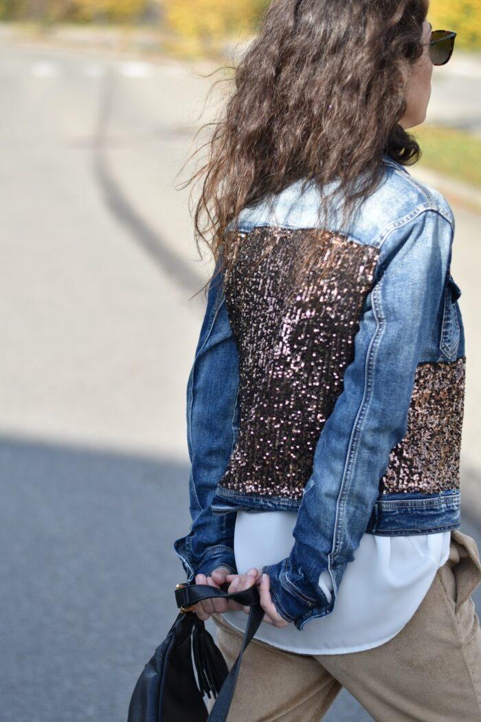 METIS GLAM Giacca di jeans con paillettes bronzo Abbigliamento