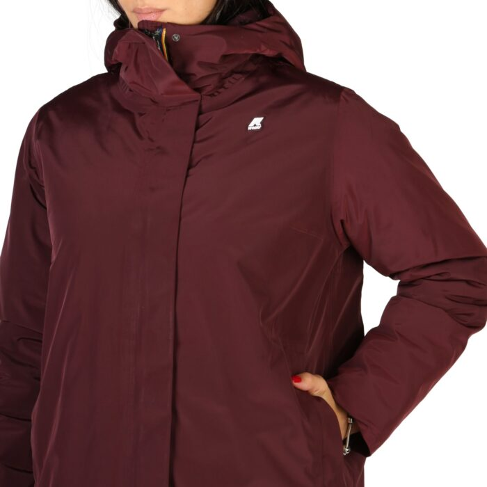 K-WAY giacca bordeaux lunga foderata e imbottita con cappuccio Giacche