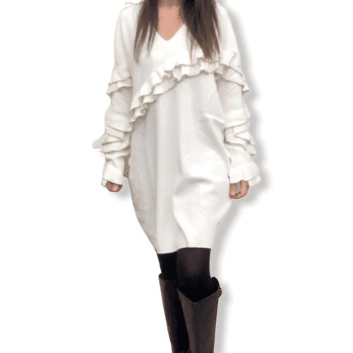TWINSET Abitino bianco panna con ruches e perle metalliche Abbigliamento