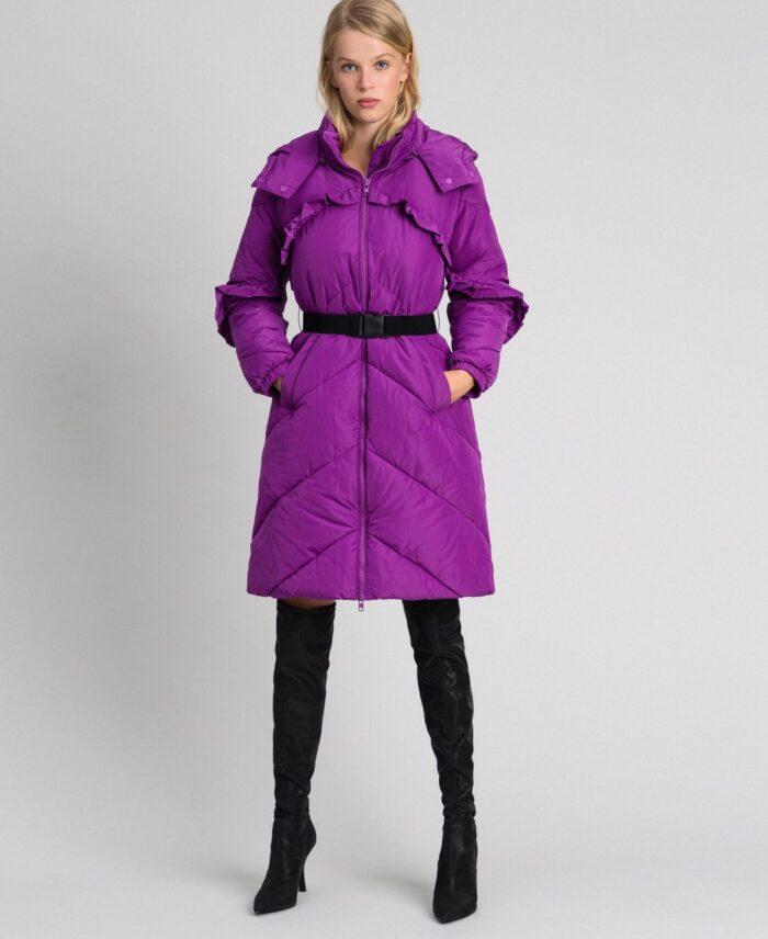 TWINSET Piumino trapuntato lungo viola con cintura Cappotti