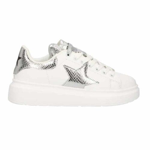 SHOP ART Sneakers bianche dettagli argento Donna