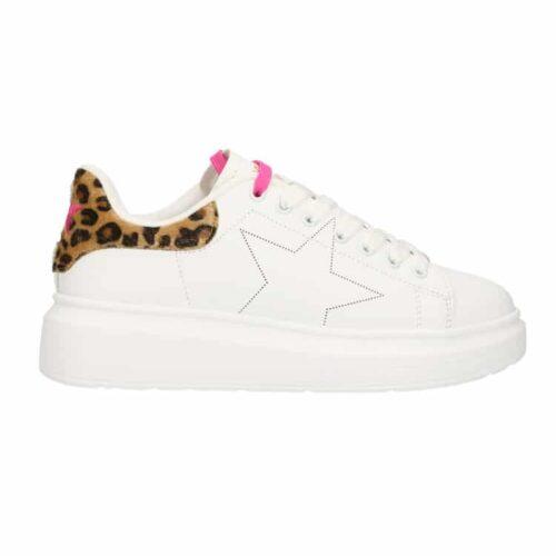 SHOP ART Sneakers bianche dettagli maculati Donna