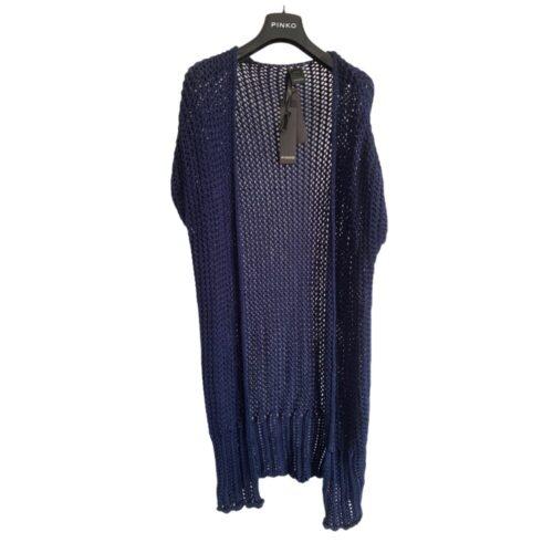 PINKO Cardigan traforato lungo blu Abbigliamento