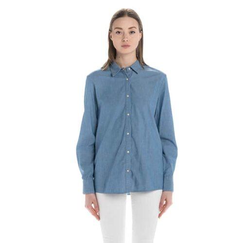 PINKO Camicia jeans con frange Abbigliamento