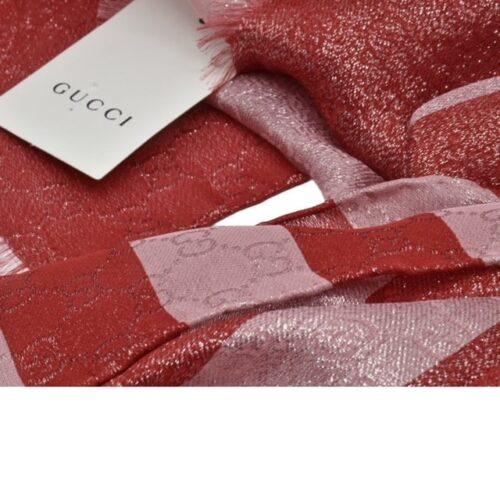 GUCCI Foulard seta lurex cipria e rossa Accessori