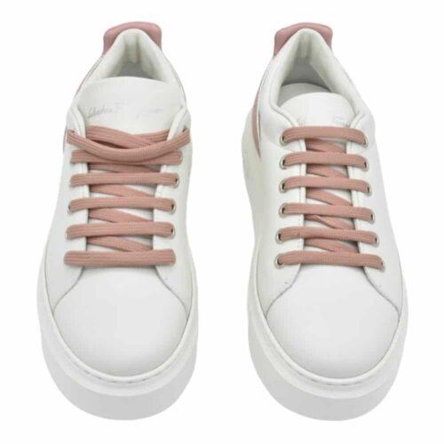SALVATORE FERRAGAMO Sneakers senise pelle dettagli cipria Donna