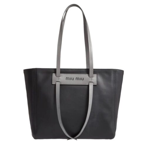MIU MIU Shopping bag nera in pelle calf e dettagli grigi Borse