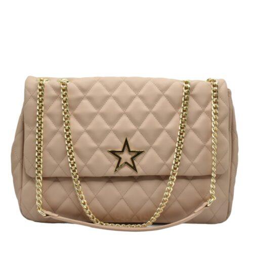 SHOP ART Shopper rosa cipria maxi soft catena oro Borse