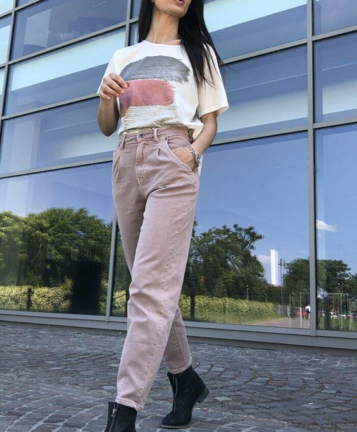 METIS GLAM Pantaloni Mom fit rosa malva Abbigliamento