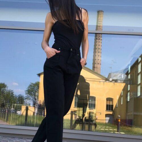 METIS GLAM Pantaloni Mom fit nero Abbigliamento