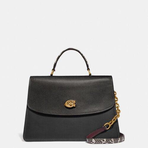 COACH borsa con tracolla in pelle nera e dettagli serpente Borse