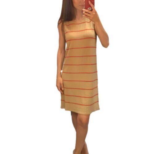 METIS GLAM Abito in maglina color caramello righine lurex amaranto Abbigliamento