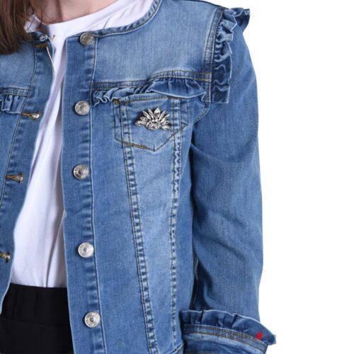 METIS GLAM Giacca di jeans con spilla Abbigliamento