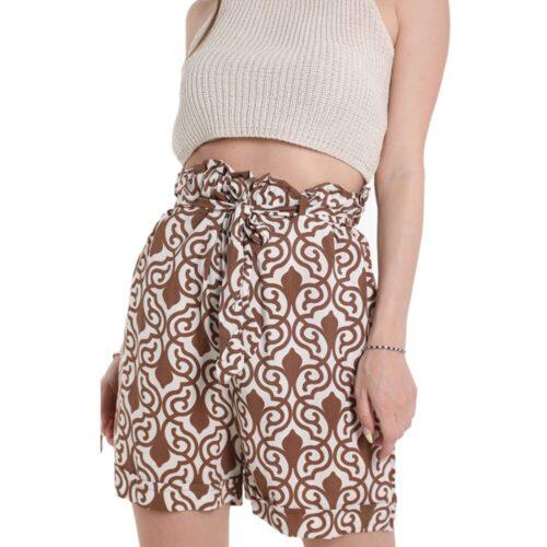 METIS GLAM Pantaloncini Shorts beige e bianco cotone Abbigliamento