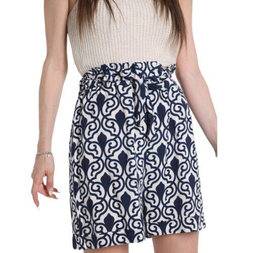 METIS GLAM Pantaloncini Shorts blu e bianco cotone Abbigliamento