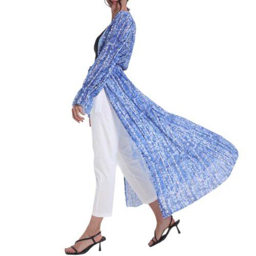 METIS GLAM  Kaftano Coprispalle lungo blu Abbigliamento