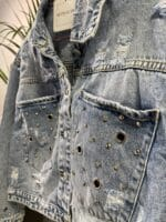 METIS GLAM Giacca di jeans con bocchette e brillantini Abbigliamento