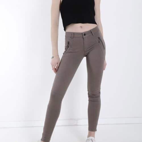 METIS GLAM Leggings marroncino in cotone con zip Coupon