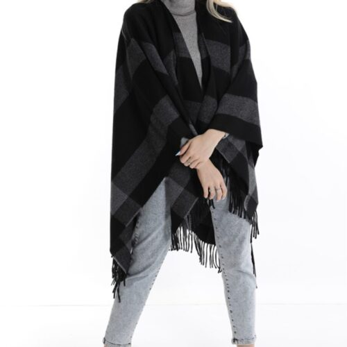 METIS GLAM Mantella Cardigan lana stampa Vichy nero grigio Accessori