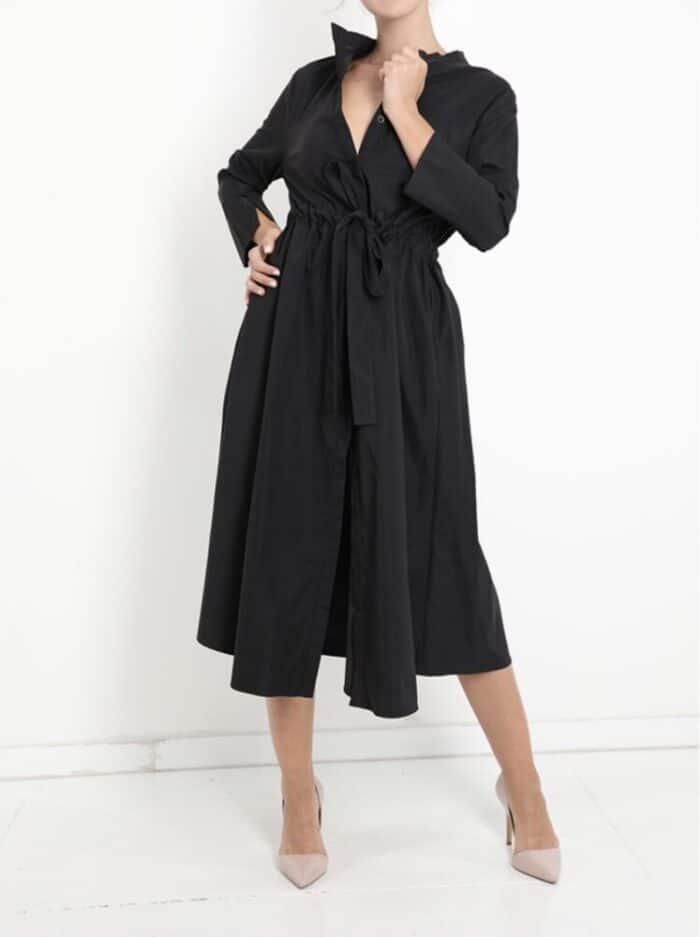 METIS GLAM Abito nero con tasche e cintura Abbigliamento