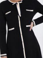 METIS GLAM Abito nero misto lana con dettagli in bianco Abiti