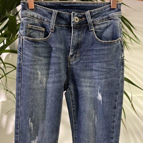 METIS GLAM jeans slim strappi caviglia Abbigliamento