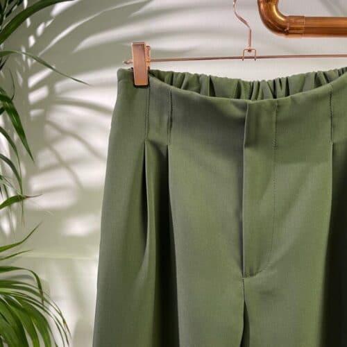 METIS GLAM Pantaloni vita alta pence verde Abbigliamento
