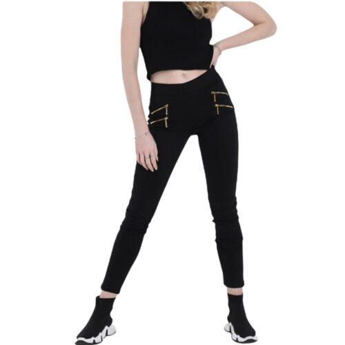 METIS GLAM Leggings nera in cotone con zip oro Coupon