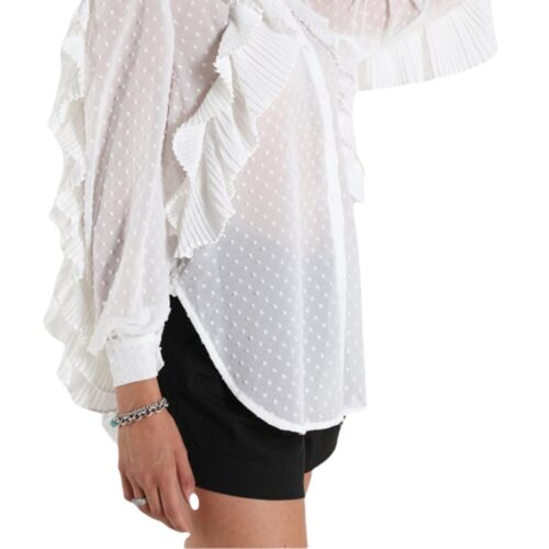METIS GLAM Camicia bianca con rouches Coupon