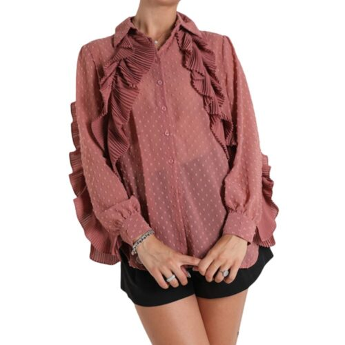 METIS GLAM Camicia rosa malva con rouches Coupon