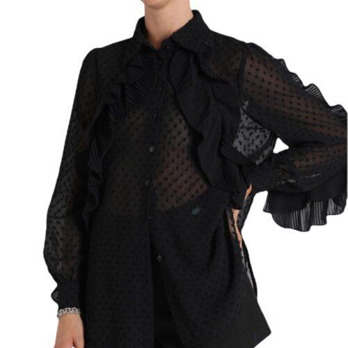 METIS GLAM Camicia nera con rouches Coupon